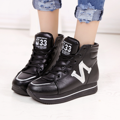 2014 autumn and winter boots shoes casual shoes sport shoes feet comfortable and breathable single solid color high-top shoes Korean women