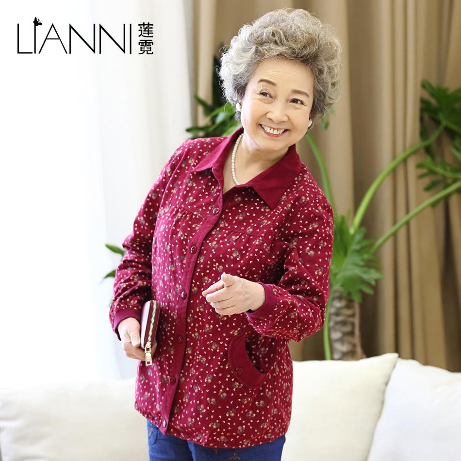 纯棉2017年春装妈妈装短款大码外套中老年女装春秋装上衣奶奶装女