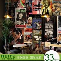 个性欧美电影海报无缝壁画休闲吧咖啡馆酒吧KTV餐厅背景墙纸特价