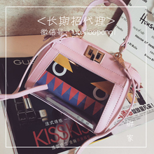 Yao and leather cowhide little monsters transparent printing mini mini jelly bag hand the bill of lading shoulder female the cat