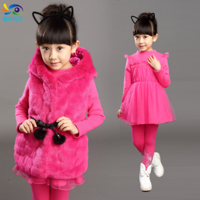 2014 winter new girls Parure Leather grass thick velvet large winter children's clothing female child princess