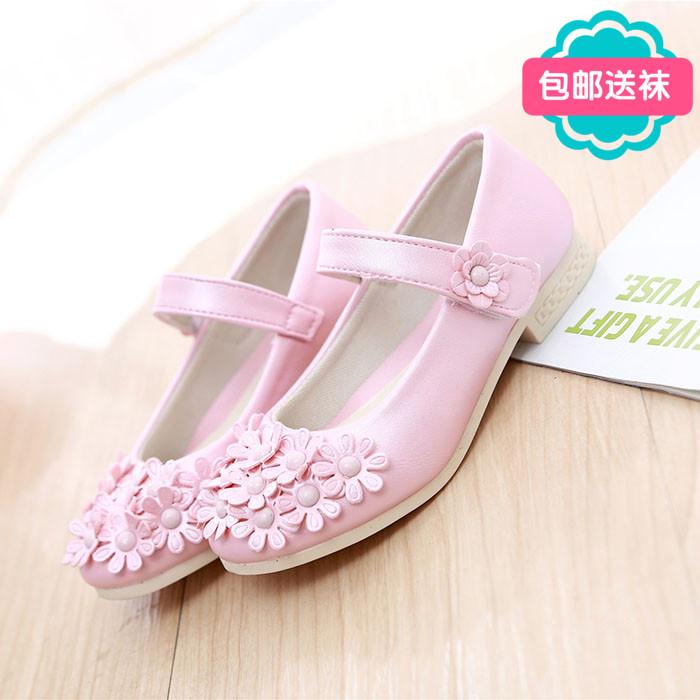 女童春款单鞋2015儿童鞋豆豆鞋韩版公主鞋小童皮鞋中大童高跟鞋子