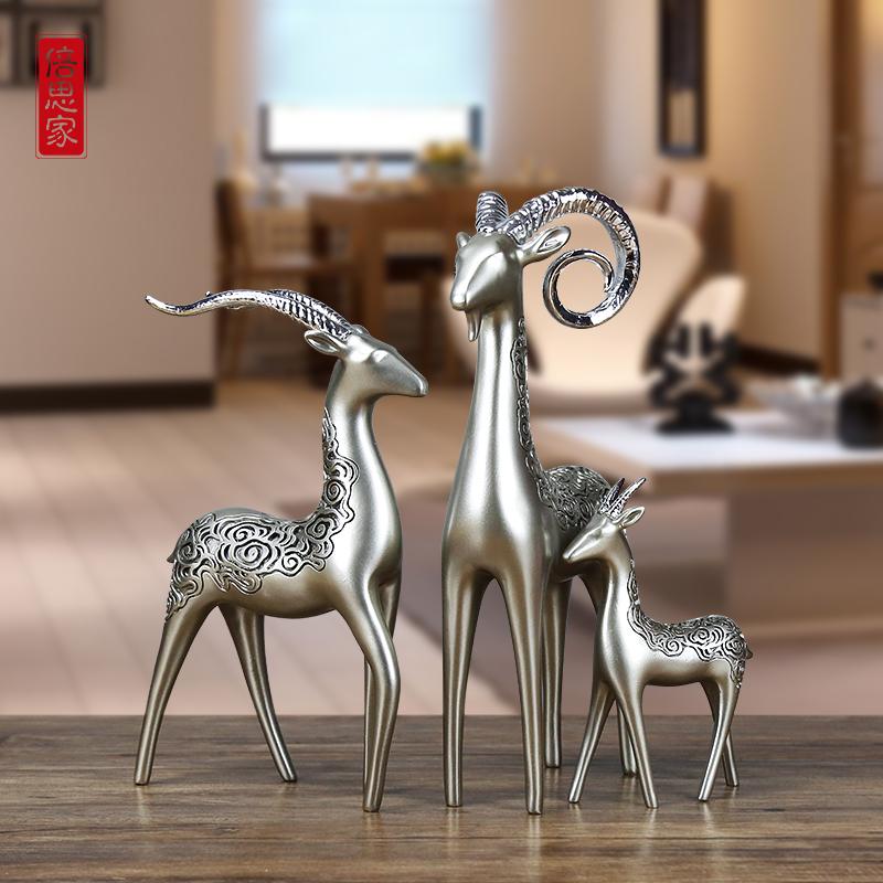 三羊开泰摆件 三阳开泰 客厅欧式树脂创意一家三口家居装饰工艺品