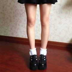 试穿不磨脚,我平时是38码运动鞋宽松,而且很百搭__时光里的店原宿风复古松糕厚底鞋森系圆头日系娃娃鞋软妹Lolita鞋