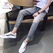 加绒加厚青少年男士九分牛仔裤秋季潮流小脚长裤子