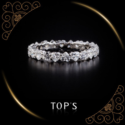 Rio Adams original designer TOPS 925 Sterling Silver Heart-shaped Korean fashion can be full of diamond ring female
