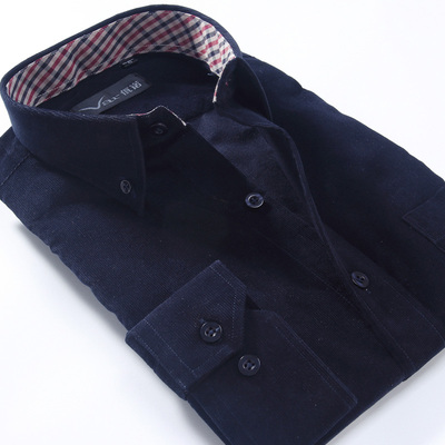 New winter thick cotton corduroy men's long-sleeved shirt dress shirt for men aged father-inch iron clothes
