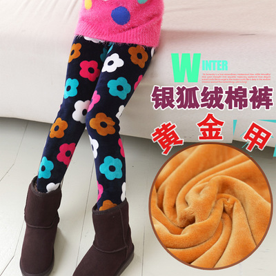 2014 children's clothing girls leggings plus thick velvet spring Dongkuan baby child cotton long pants, boots, pants feet