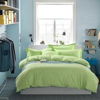 纯棉纯色四件套全棉1.8床简约绿色床上用品素色被套2.0m韩式床单4