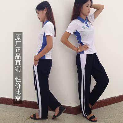 深圳校服中学生长裤短裤校服 活力校服 夏装修身短袖短裤男女套装图片