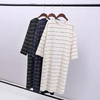 韩版新品秋装加长宽松中长款长袖条纹T恤裙大码宽松打底衫连衣裙