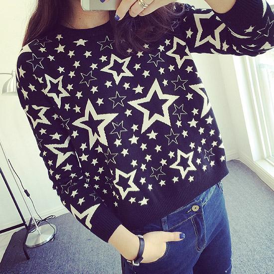 Ретро Европа кокса и пятиконечная звезда тепловой crewneck свитер короткая осень/зима новых продуктов высокой талией вязаный свитер девушка JY