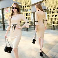 秋季新款纯色圆领七分袖时尚显瘦连衣裙B9356