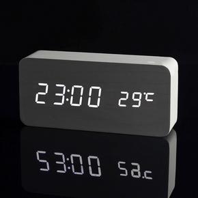 木村闹钟创意静音现代夜光电子时钟时尚木头钟表座钟客厅可爱床头