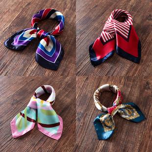 职业装丝巾银行空姐移动工作服装饰真丝女百变印花围巾中小方巾