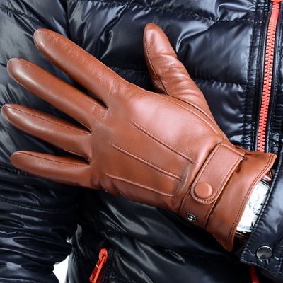 Luooudisi import sheepskin gloves men's leather gloves warm autumn and winter thick leather gloves cycling