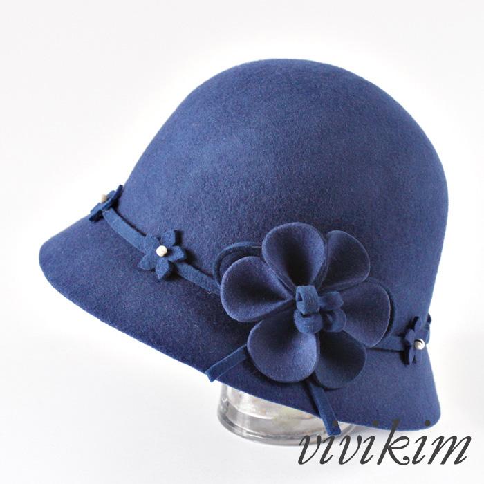 Головной убор Зимой сладкий цветок жемчужина Рыбак Hat Западной Винтаж чистая шерсть британского воздушного бассейна Cap под колоколообразной шляпы шляпа
