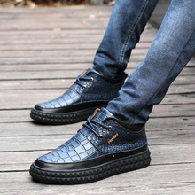 Tide minister Han edition leather crocodile grain new recreational leather shoes men's shoes in British pop shoes men's shoes