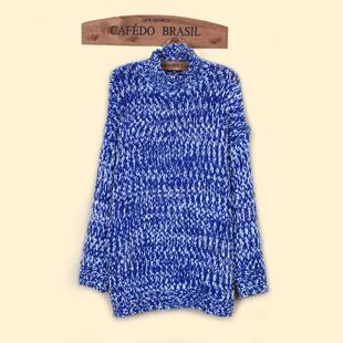 2015冬季新款时尚休闲高领雪花混色针织圆领套头毛衣保暖