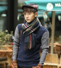 Teenage boys fashion warm scarf men joker character in grid high school at the university of male fashion scarf