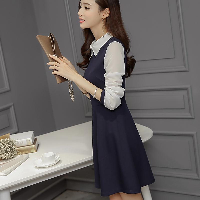彩黛妃2016春装新款韩版女装中长款修身显瘦大码长袖连衣裙打底裙