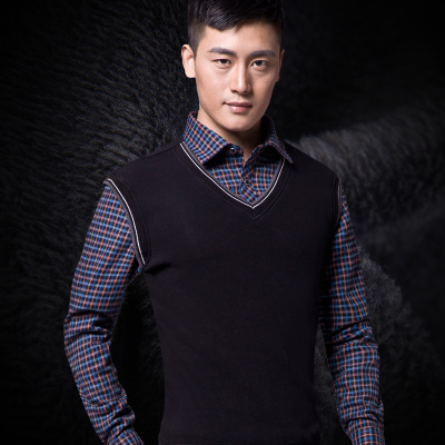 Men's winter warm shirt plus thick velvet warm fake two long-sleeved plaid shirt business casual Korean version of the influx of