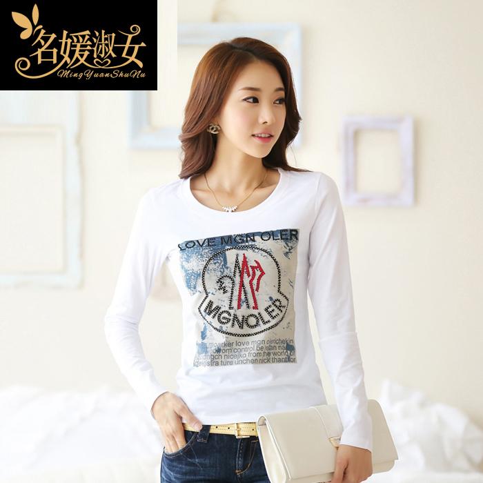 长袖t恤女2014新款韩国秋季修身镶钻字母印花大码上衣纯棉打底衫