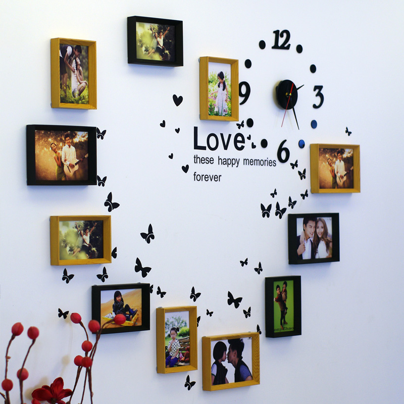 Continental clouds edge timepiece wall clock heart-shaped photo wall ...