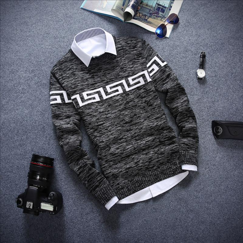 秋季韩版修身潮圆领套头男士毛衣外套男装学生线衣英伦风格针织衫