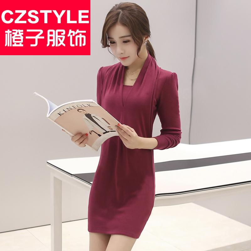 春装新款女装2016韩版修身连衣裙春中长款长袖衬衫打底衫裙子女潮
