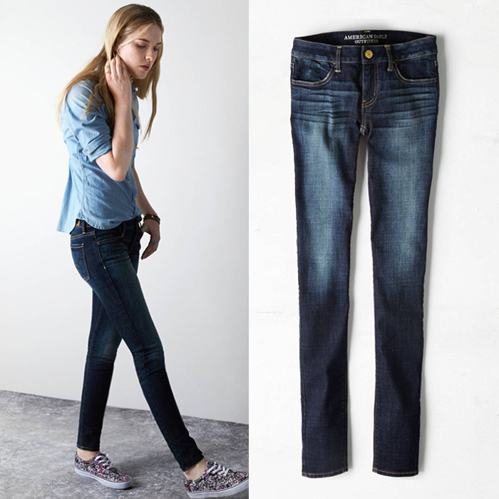Thin good goods! Dark blue jeans stretch pants feet / pencil pants with large yards women (special)