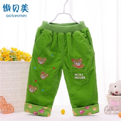 Male and female children corduroy trousers / flat waist pants / children cotton cover dual crotch pants casual pants