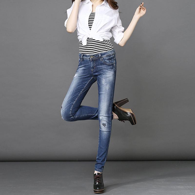 MOCK·UP2016秋冬新款铅笔裤弹力破洞牛仔裤女小脚裤修身显瘦长裤