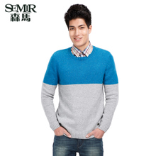 Semir 2014 winter new men sweater Round collar set of head bump color rib long-sleeved sweater Counters in same