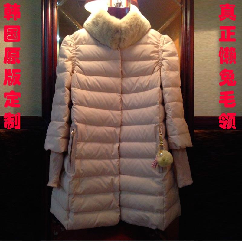 Женский пуховик 2014 зимние YRF для женщин длинные вниз жилет меховой воротник нового женского пальто плащ мягкий Хань Вентилятор
