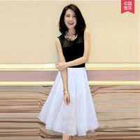 两件套装裙2015新款夏装高圆圆明星同款高端气质半身长裙连衣裙子