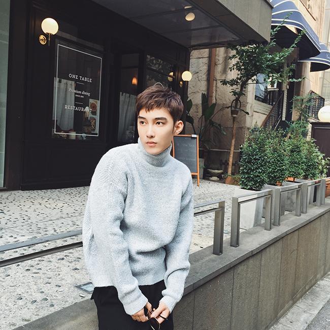 威廉的华丽2015秋冬新款韩版潮男套头纯色针马海毛衫男士高领毛衣