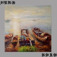 重庆别墅美式风格海景帆船厚颜料笔触油画工作室画师现货一幅直销