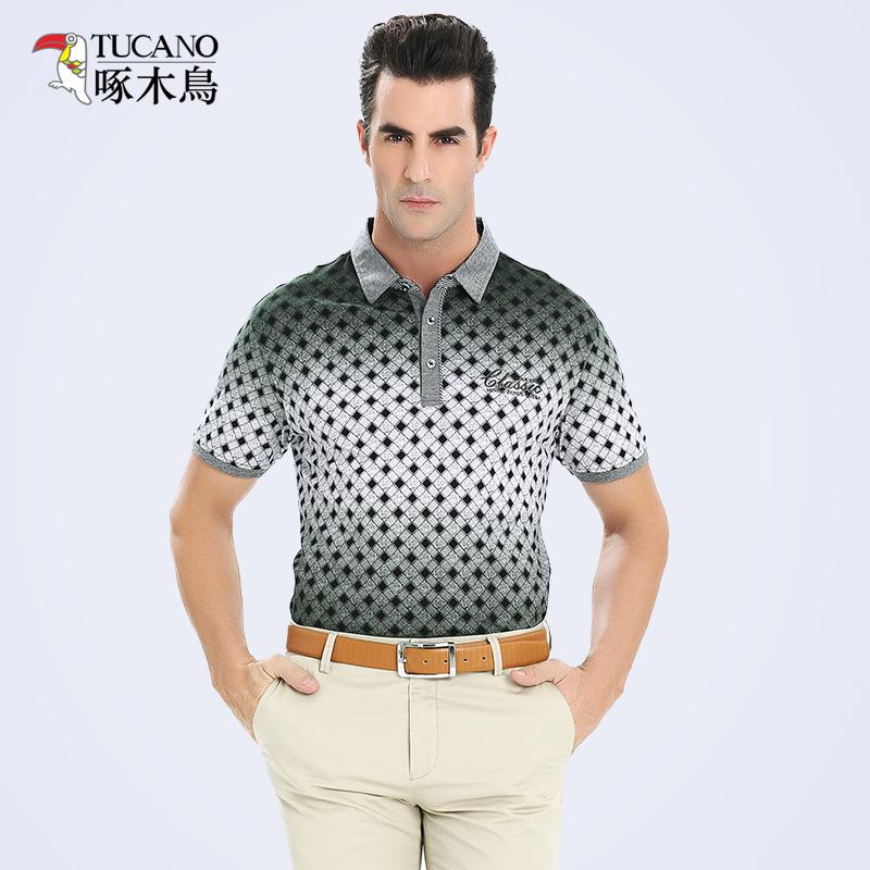拍下99 啄木鸟男装 2015春夏新品中年男士商务绅士polo短袖t恤衫