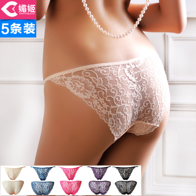 Mei Ji genuine five 5-color cartridge sexy lace panties female temptation transparent low-waist briefs female incognito