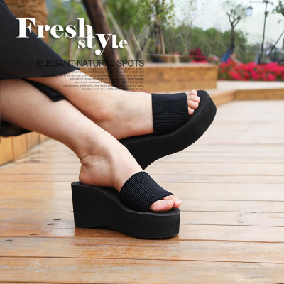 Summer high-heeled heavy-bottomed non-slip slippers word rocket dog sandals and slippers slope with muffin Korean tidal beach shoes