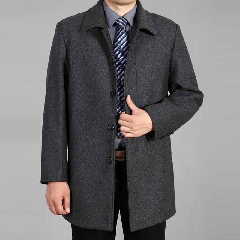 男装秋冬款中老年羊毛呢大衣男士中长款羊绒呢子大衣外套毛呢风衣