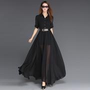 春夏欧美气质高腰短袖显瘦黑色超长款雪纺连衣裙拖地大摆长裙