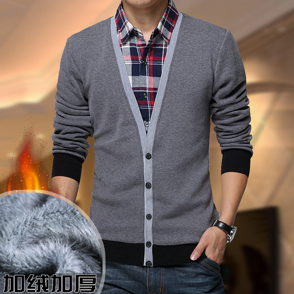 Warm shirt men leave two men's cashmere sweater knit Korean Slim casual fall and winter thick stitching shirts