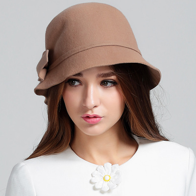 Korean female winter hat bucket hats wool hat hat female autumn and winter 2014 new wave of British wool hat