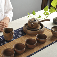 Taiwan Japanese stoneware restoring ancient ways is by hand Purple sand clay teacup archaize kung fu tea set The whole side