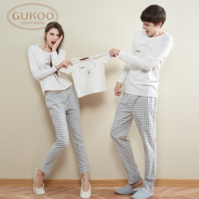 Spring couple long-sleeved cotton pajamas suit tracksuit Pyjamas men and women in autumn and winter pajamas female cute