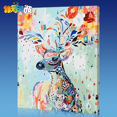 加厚框佳彩天颜diy数字油画客厅风景花卉动漫人物填色手绘装饰画