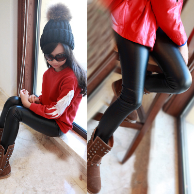Korean children's clothing for girls winter 2014 new female big boy was thin leather pants feet thick velvet leggings pants