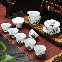 高白陶瓷手绘功夫薄胎青瓷整套功夫茶 高档手绘茶 青瓷茶具新款